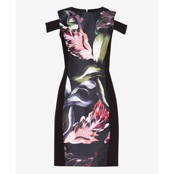 491aeb1154c3a Ted Baker Black Floral Cold Shoulder Dress Size 1